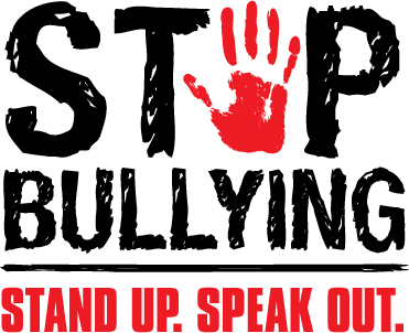 stop bullying: stand up. speak out (+hand print image)